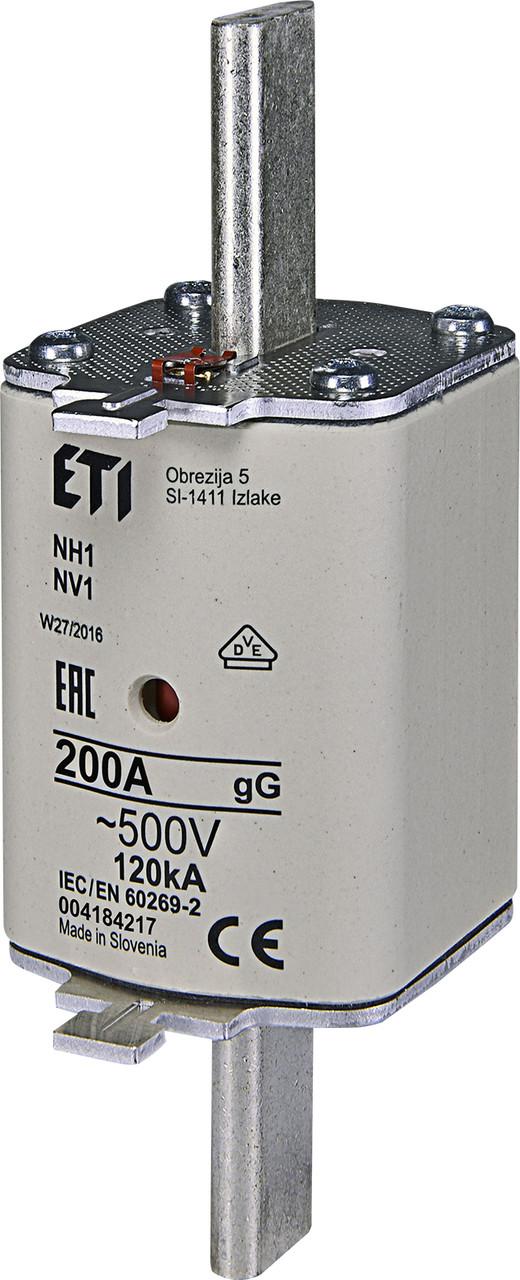 Предохранитель ETI NH-1 gL/gG 200A 500V KOMBI 120kA 4184217 ножевой универсальный