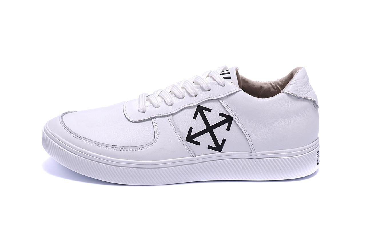 Мужские кожаные кеды Off White For Nike (реплика)