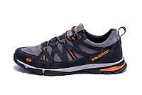 Мужские кожаные кроссовки Salomon Grey Tracking  (реплика)