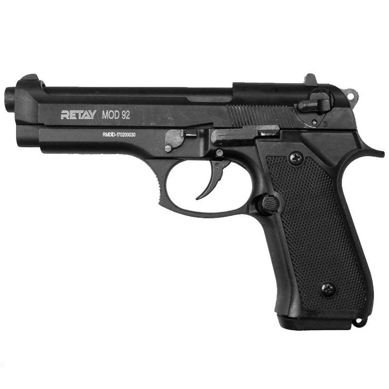 Пистолет сигнальный, стартовый Retay Beretta 92FS Mod.92 (9мм, 15 зарядов), черный