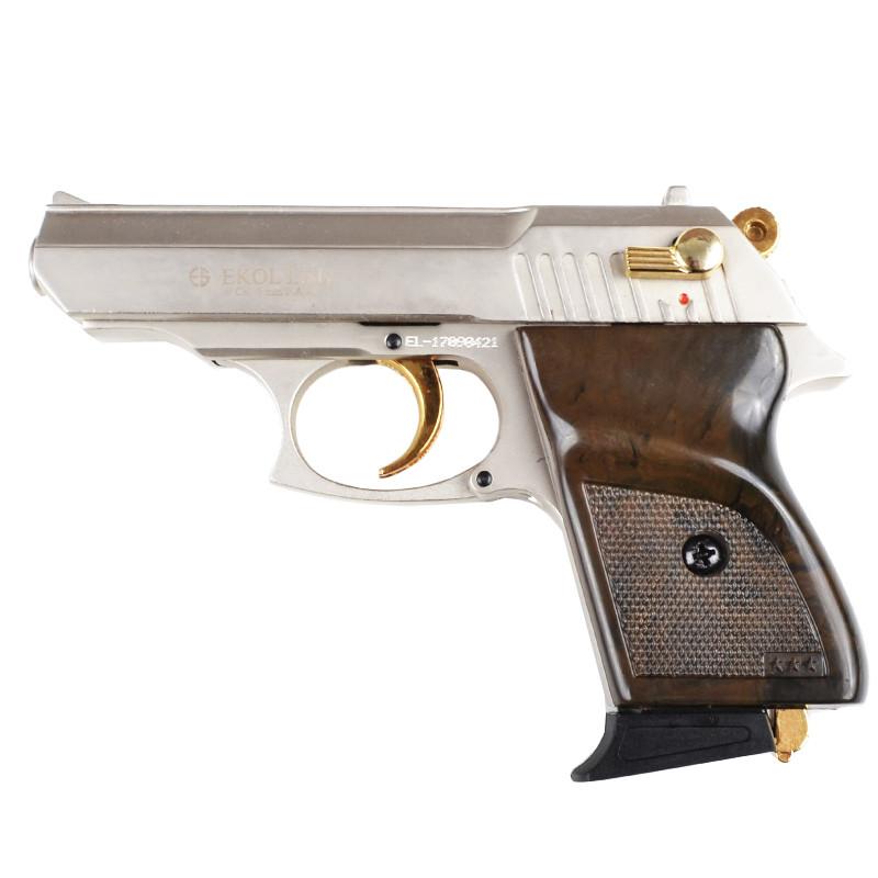 Пистолет сигнальный, стартовый Ekol Lady (9.0мм), сатин с позолотой