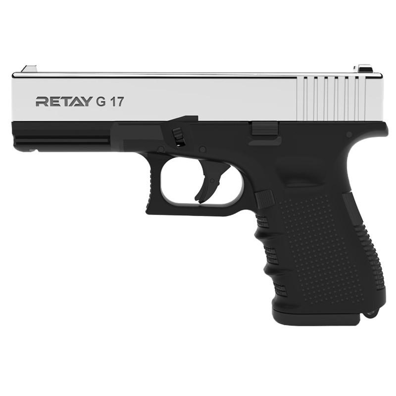 Пистолет сигнальный, стартовый Retay Glock G 17 (9мм, 14 зарядов), никель