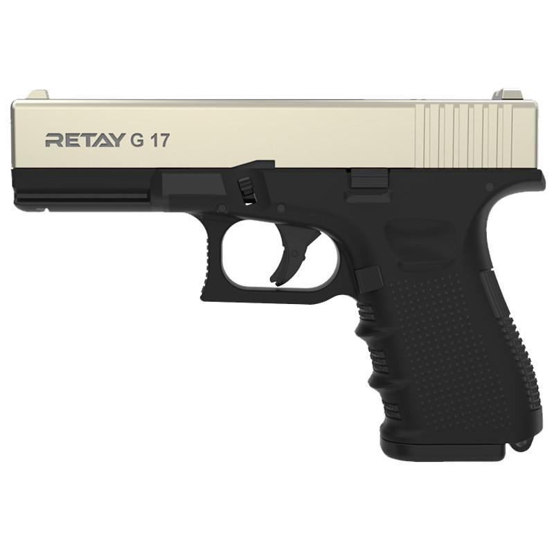 Пистолет сигнальный, стартовый Retay Glock G 17 (9мм, 14 зарядов), сатин