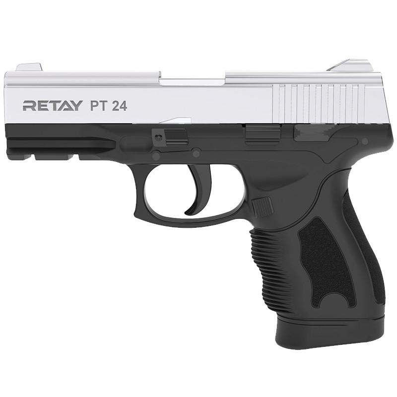 Пистолет сигнальный, стартовый Retay Taurus PT24 (9мм, 15 зарядов), хром