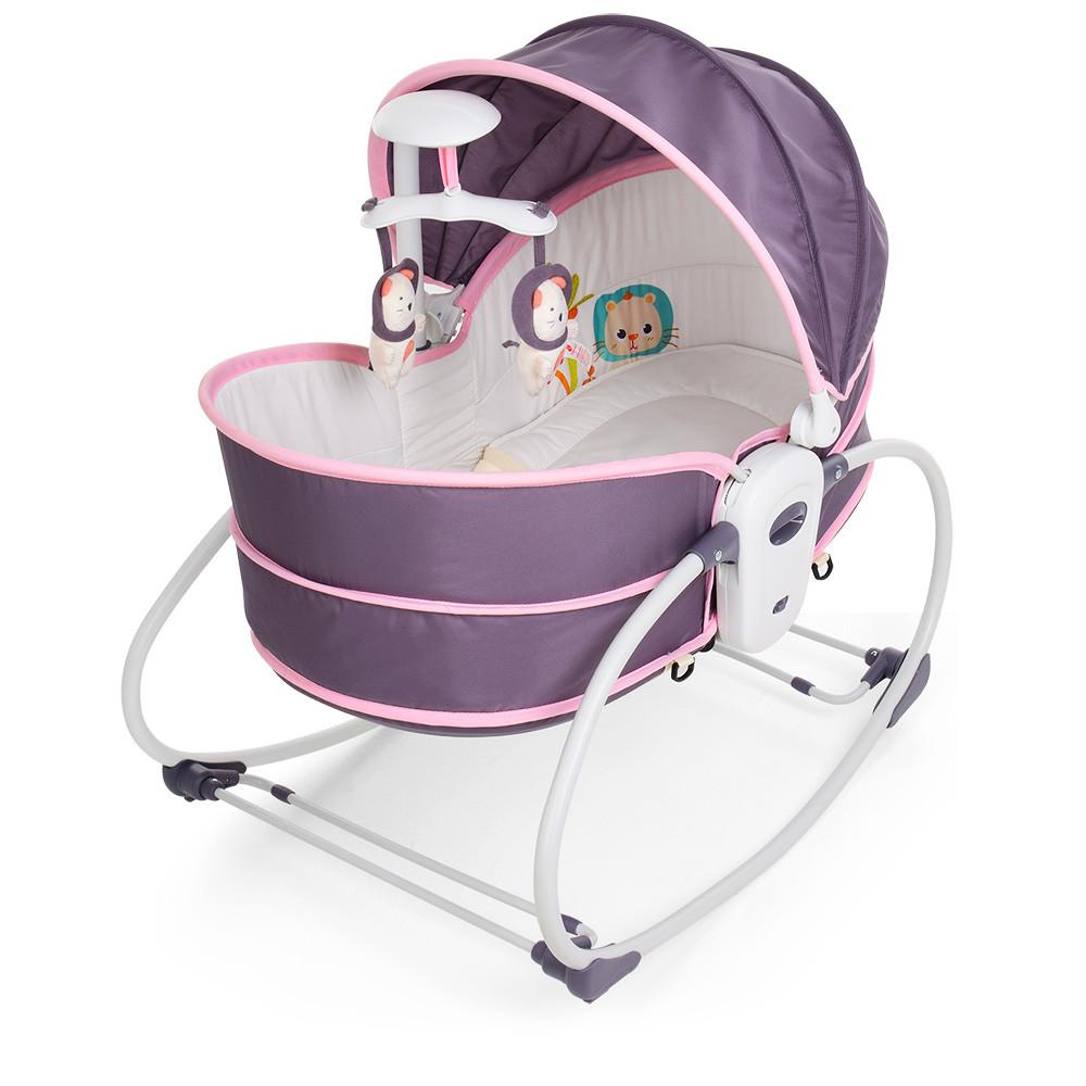 Детская люлька-качалка 6033 серо-розовая ***