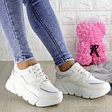 Кроссовки женские белые эко - кожа, фото 2