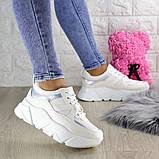 Кроссовки женские белые эко - кожа, фото 3