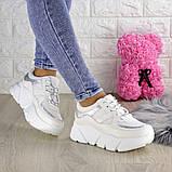 Кроссовки женские белые эко - кожа, фото 4