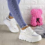 Кроссовки женские белые эко - кожа, фото 5