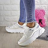 Кроссовки женские белые эко - кожа, фото 8