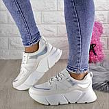 Кроссовки женские белые эко - кожа, фото 9