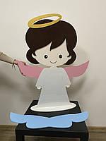 Декоративна фігура Ангел з дерева для оформлення фотозони, хрещення, весілля та свят