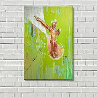 Человек на холсте Бевза Декорация стен Настенный декор Абстрактная картина Девушка на картине Желтая картина