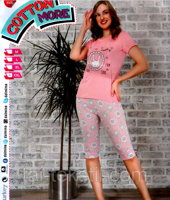 Пижама женская футболка и капри хлопок разные цвета т.м Коттон Море Турция № 49766