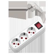 Удлинитель Deniz 3вх/2м с заземлением /выключатель  (3x1)