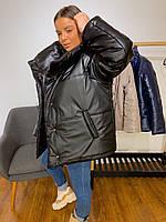 Женская дутая демисезонная куртка, БЕЖ | Эко-кожа | Размер универсальный Черный