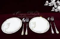 Фарфоровая тарелочка (19см) в стразах с инициалами и приборы для десерта (2 комплекта), фото 1