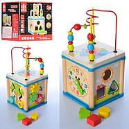 Деревянная игрушка лабиринт пальчиковый - бизикуб, сортер многофункциональный, фото 2
