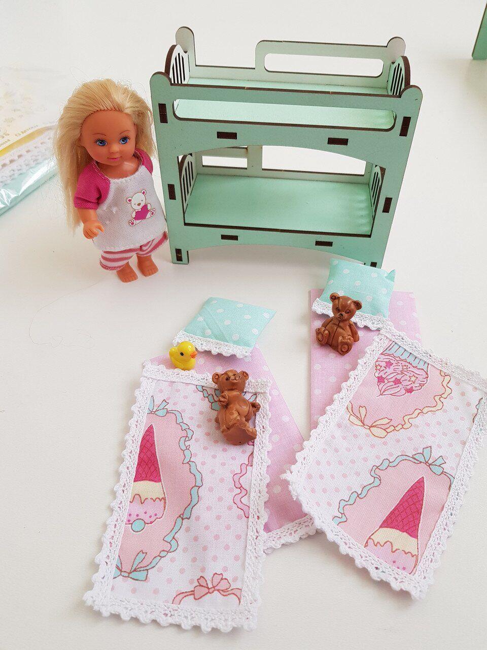 Комплект постельного белья (хлопок) для кукольного домика для кукол LOL (ЛОЛ), 6 ед.