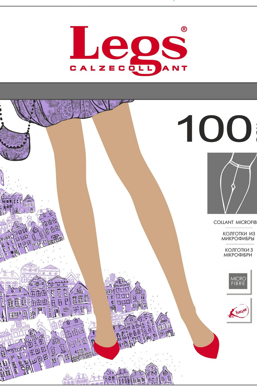 Колготки(4р-р) из микрофибры, чёрный, Tetti 100 ден, Legs