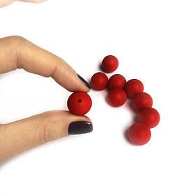 15мм (красный ТЕМНЫЙ) круглая, силиконовая бусина