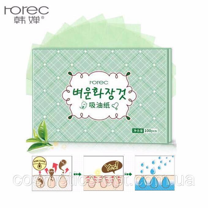 Матирующие салфетки с экстрактом зеленого чая Rorec Oil Absorbing Paper, 100 шт