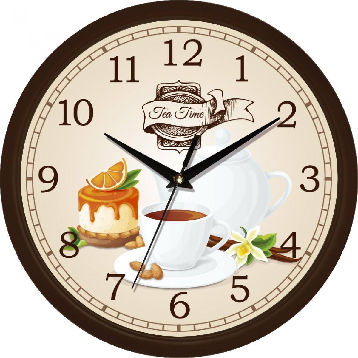 Часы настенные UTA Сlassic 300 х 300 х 45 мм в коричневом ободе кухонные