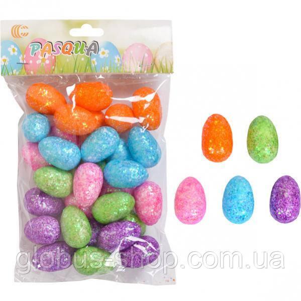 Яйце маленьке з блискітками 3,5 х 2см помаранчевий