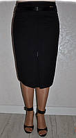 Интересная батальная прямая юбка в деловом стиле с складками спереди супер-батал р.48-60. Арт-1559/10