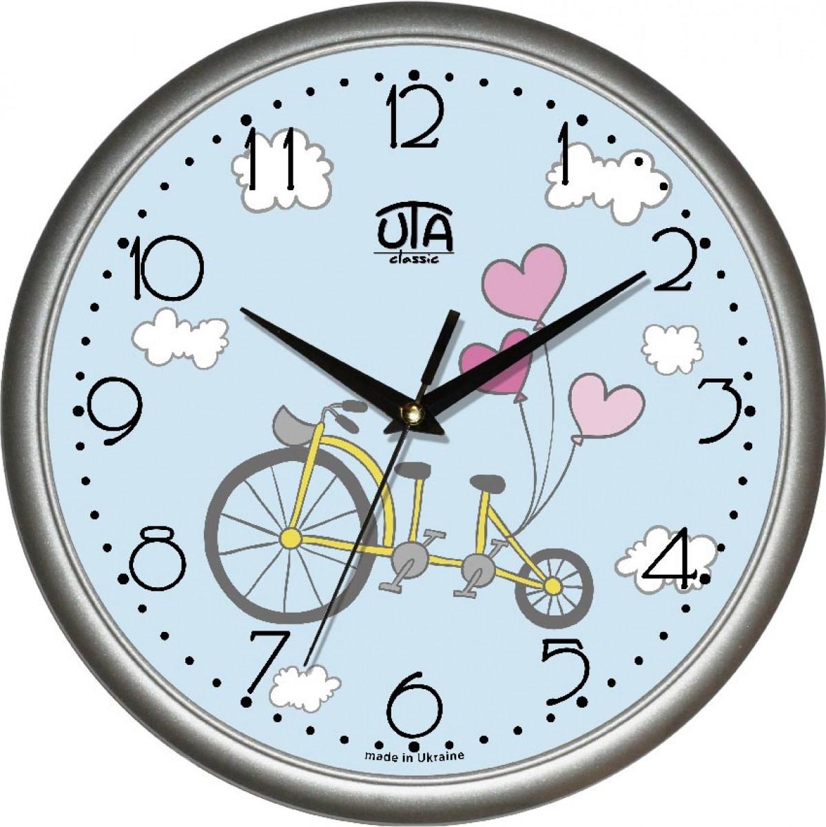 Часы настенные UTA Сlassic 300 х 300 х 45 мм в сером ободе для детской