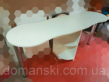 Маникюрный стол на два мастера  с фигурной столешницей. Стол для маникюра раскладной ., фото 2