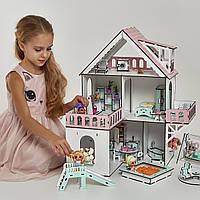"""Кукольный домик NestWood """"МИНИ КОТТЕДЖ"""" для кукол LOL (ЛОЛ) , 5 комнат (этаж 20см), без мебели"""