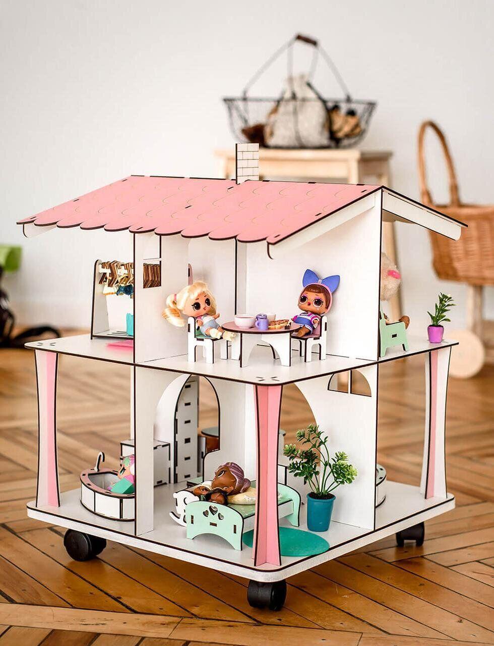 Кукольный домик NestWood 4х-сторонний для ЛОЛ на подставке с колесиками