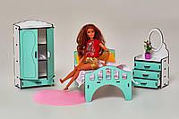 Мебель для кукольного домика Барби NestWood, бело-мятная (СПАЛЬНЯ)