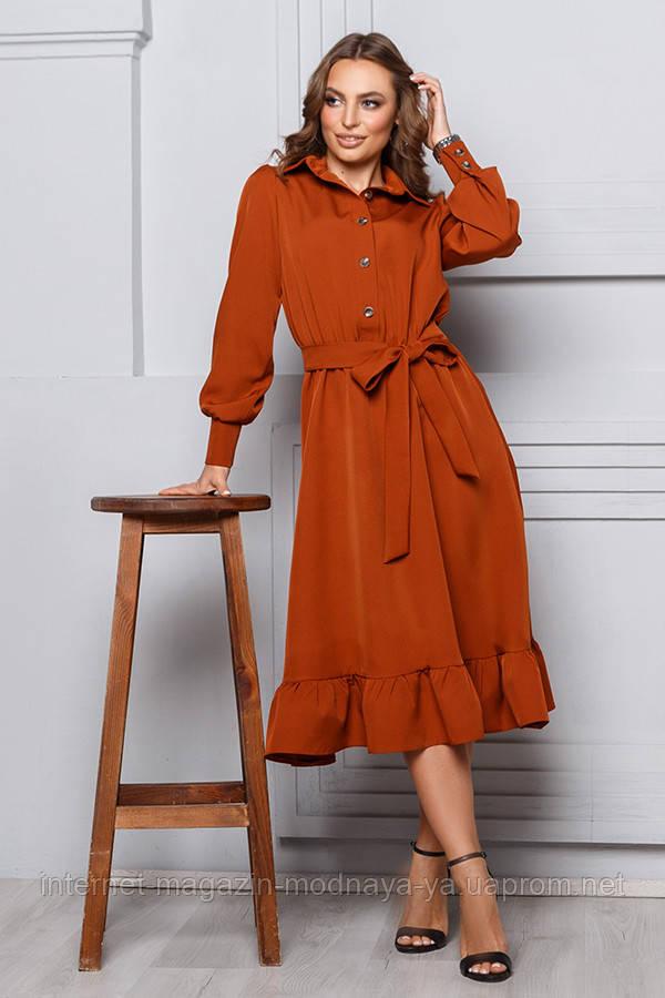Платье с оборкой на юбке р. S M L