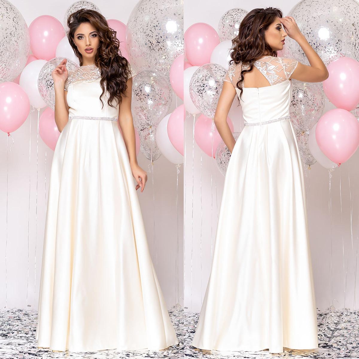 """Платье в пол молочного цвета атласное свадебное, вечернее """"Аврора"""""""
