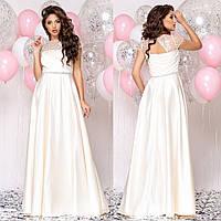 """Платье в пол молочного цвета атласное свадебное, вечернее """"Аврора"""", фото 1"""