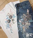 Юбочный костюм с футболкой и джинсовой юбкой карандаш 7910470, фото 2