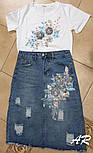 Юбочный костюм с футболкой и джинсовой юбкой карандаш 7910470, фото 3