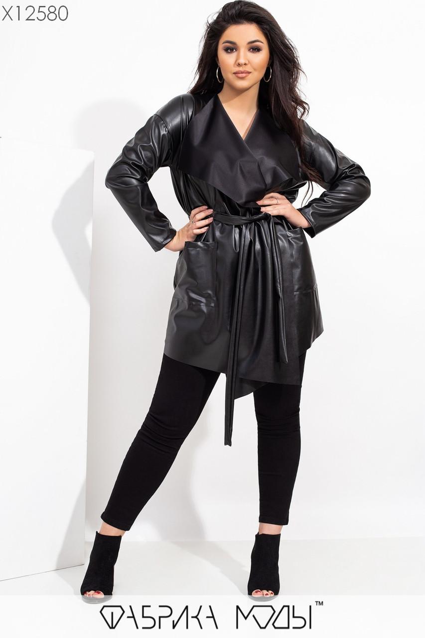 Женский кожаный тренч накидка в больших размерах под пояс 115524
