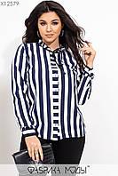 Полосатая женская рубашка в больших размерах из софта в вертикальную полоску 115525, фото 1