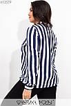 Полосатая женская рубашка в больших размерах из софта в вертикальную полоску 115525, фото 4