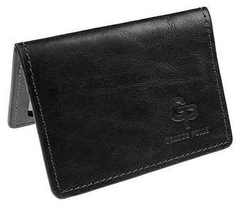 Шкіряна обкладинка для ID паспорта чорний глянець Grande Pelle (206610)