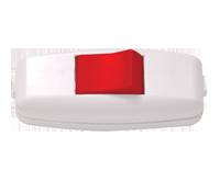 Выключатель EL-BI навесной белый с красной кнопкой 6А 250В