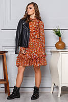 Платье короткое из шифона с оборками р. S M L, фото 1