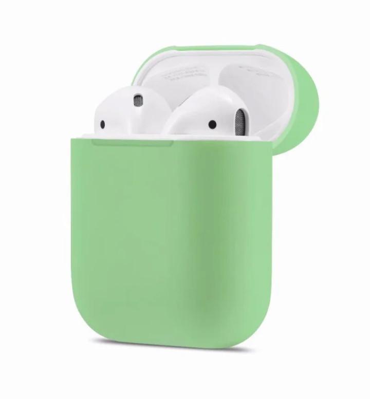 Силиконовый чехол Ultra Slim Green для наушников Airpods/Аналогов