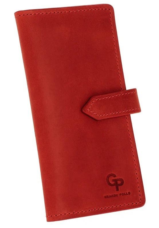 Портмоне женское красное матовое из натуральной кожи Grande Pelle (roz-523160)