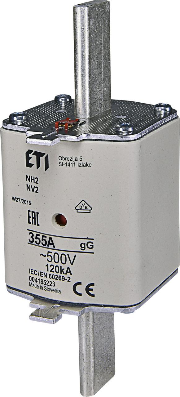 Предохранитель ETI NH-2 gL/gG 355A 500V KOMBI 120kA 4185223 ножевой универсальный
