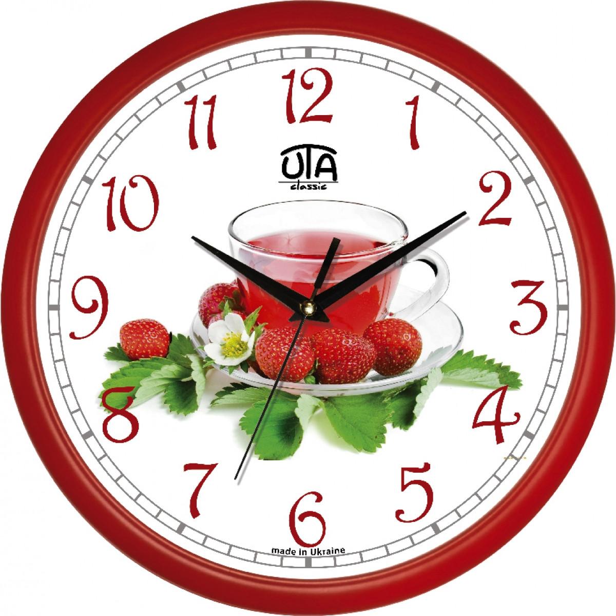 Часы настенные UTA Сlassic 300 х 300 х 45 мм с красным ободом кухонные