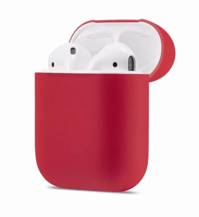Силиконовый чехол Ultra Slim (Rose Red) для наушников Airpods/Аналогов